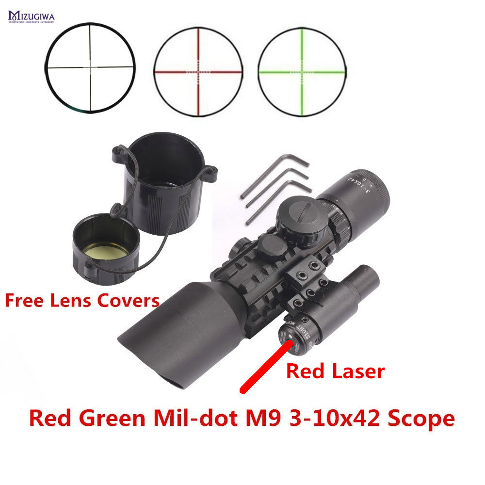 MIZUGIWA M9 3-10x42 Mil-Dot Reticle Red Green Dot Sight Rifle Scope With Red Laser Airsoft Caza 20mm 11mm Mount Rail Mira Para 3 10x42 green laser m9a tactical rifle scope red green mil dot reticle with side mounted green laser guaranteed 100%