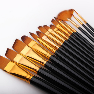Image 2 - 17 Pcs Set Artist Paint Brush With Carrying Case Knife Case Sponge Painting Black for Watercolor Paintbrush Oil Acrylic Drawing