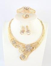 Las mujeres de Oro Plateado Nuevo Diseño de Cristal Austriaco Flor Del Banquete de Boda de África Dubai Sistemas de La Joyería Collar Anillo Del Pendiente Del Brazalete