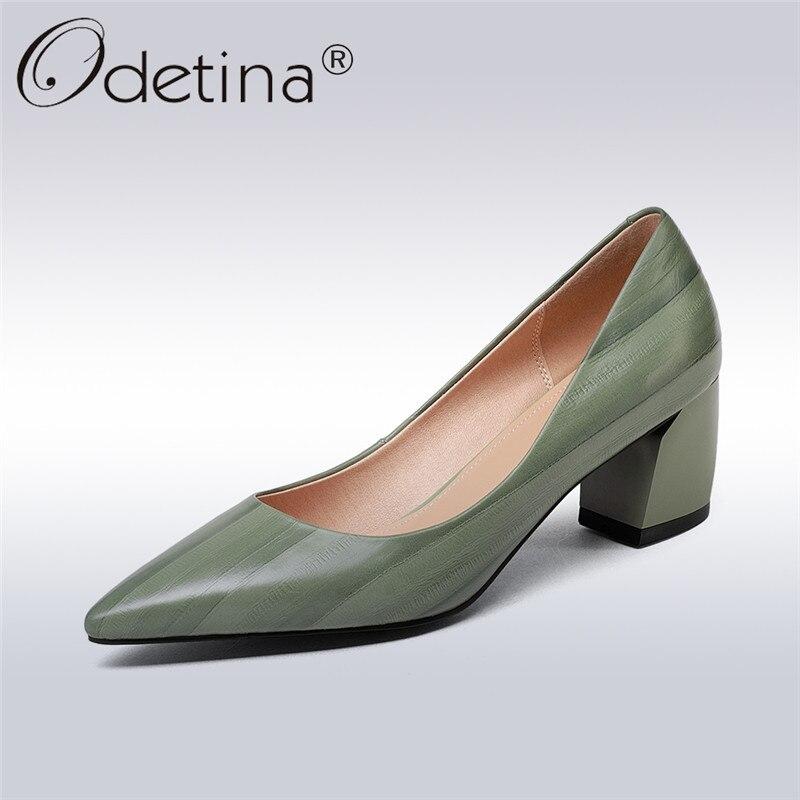Odetina 2018 New Fashion Genuine Leather Pumps Women Slip On Elegant Shoes Pointed Toe Square High Heels Pump Shoes Big Size 43 цена 2017