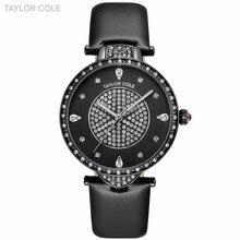 Eco nueva marca Taylor señoras Cole negro Cuero auténtico Band hora zegarki  damskie Japón cuarzo cristal 641ec1879c0e