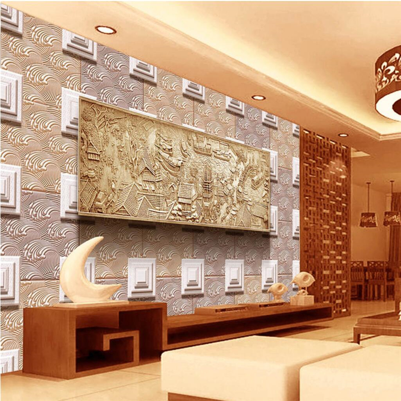 beibehang Custom frescoes any size high-grade clean up the river map three-dimensional relief living room background wall