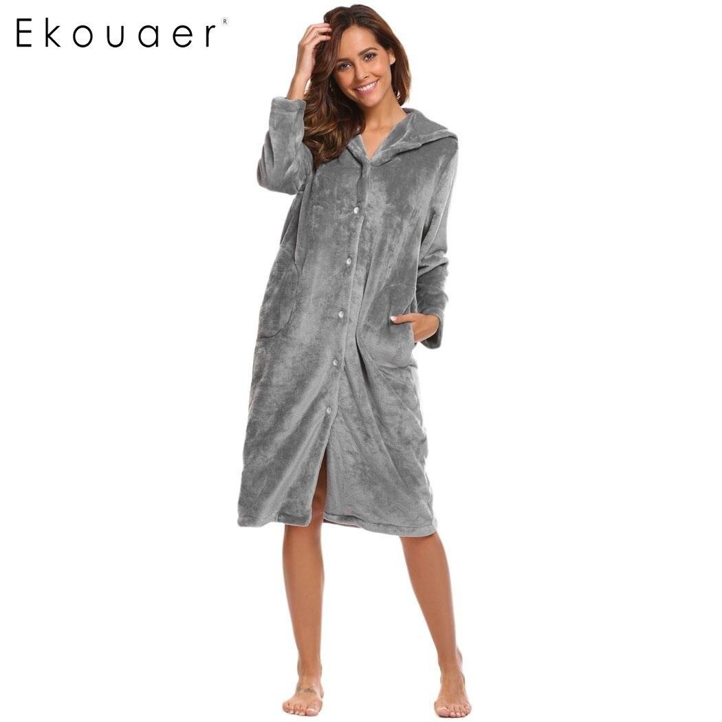 47b31417f Ekouaer Inverno Mulheres Camisola Com Capuz de Manga Comprida de Flanela  Macia Pelúcia Longo Sono Sleepwear Vestido Feminino Roupa Térmica