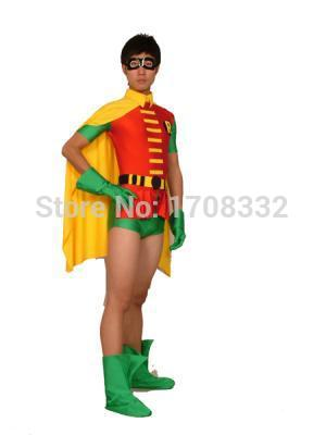 Robin Costume red spandex superheros costume the classic Robin costume Halloween cosplay costume free shipping
