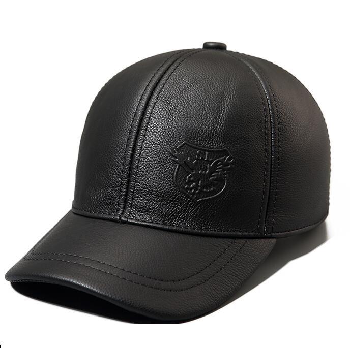 Peau de vache casquette de baseball masculin automne et d'hiver en cuir véritable chapeau thermique épaississement mâle coton cache-oreilles d'hiver chapeau