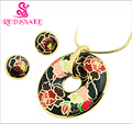 RED SNAKE Hot Sale! Newest Black Feather Design Green Pink Blue Geometry Enamel Jewelry Set(Necklace, Earring)
