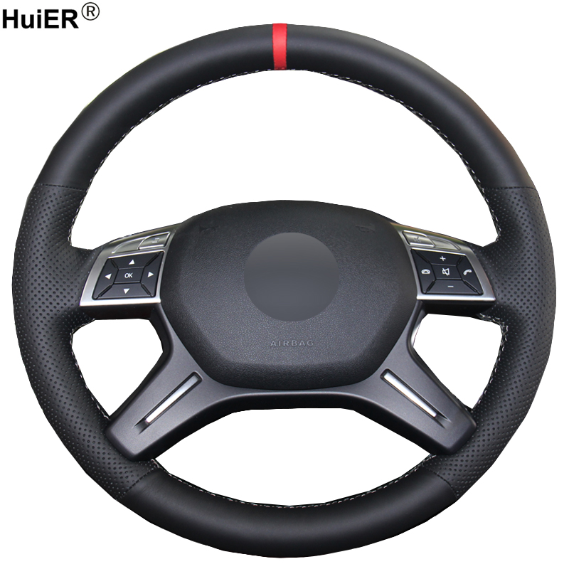 HuiER Hand Sewing Car Steering Wheel Cover Comfortable Red Marker For Mercedes Benz GL350 ML350 Steering-Wheel Auto Accessorie