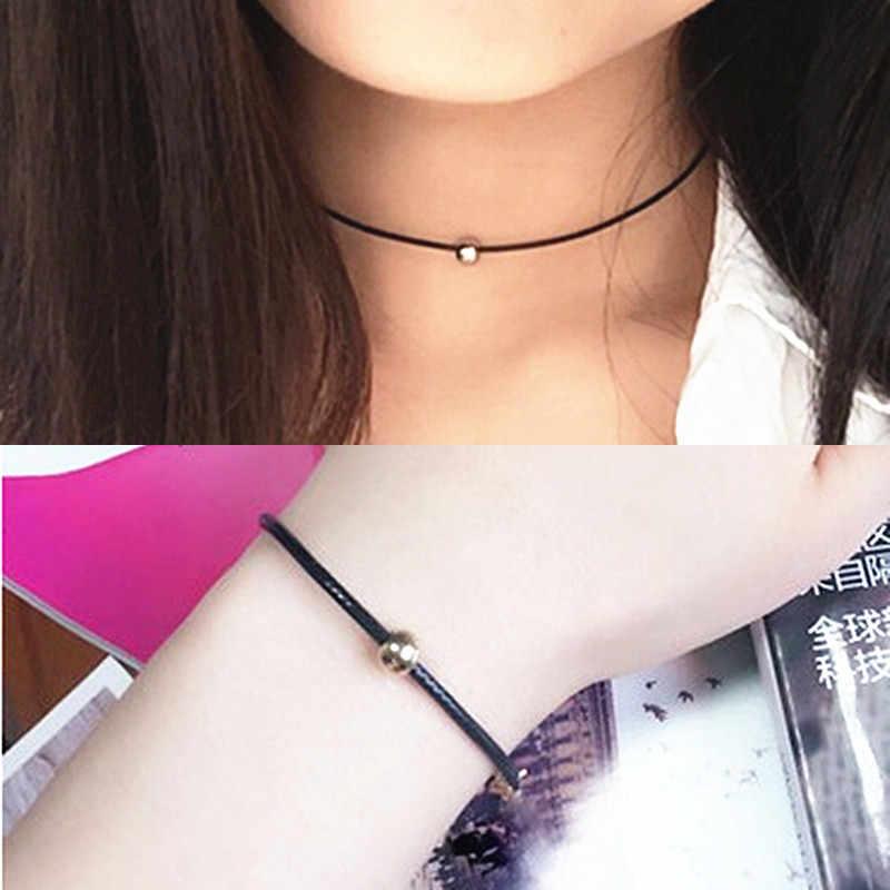 Nueva marca de moda mujer encanto pulsera Retro Vintage señora joyería hecha a mano negro gótico cuentas pulsera collar