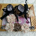 Girls Leopard botines zapatos de Bebé diadema set, flores lamentables de zapatos para niños, zapatos del bebé marca, bebe tenis sapatos menina