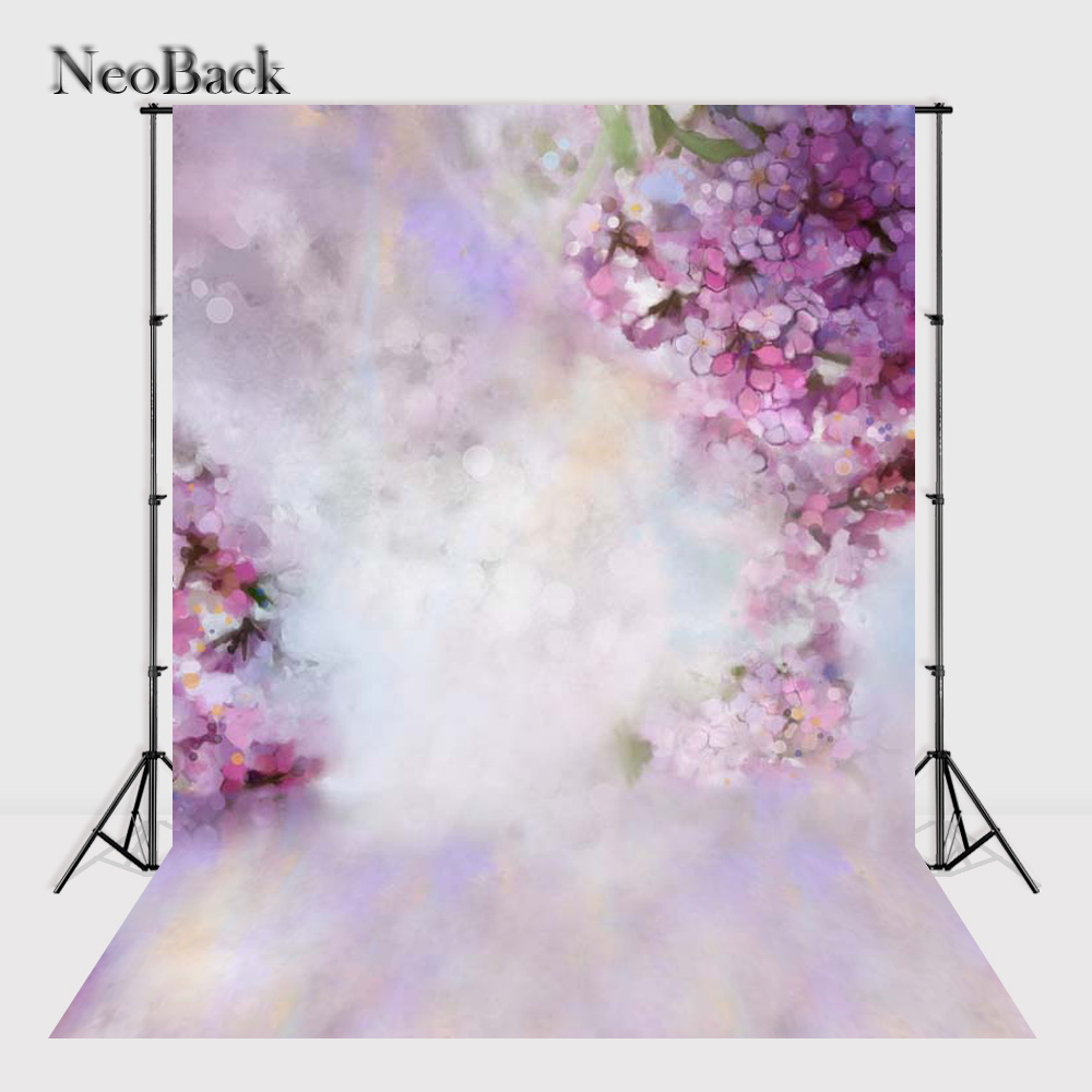NeoBack Vinyl cloth NewBorn Baby Purple Floral Photography Backdrop Children backdrops Printed Studio Photo backgrounds P2117 vinyl floral flower newborn backdrops cartoon unicorn photography background studio photo props 5x3ft