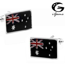 iGame Men Cufflinks wholesale&retail top copper Black Colour Australian Flag Design Cuff links Free Shipping