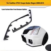 Carbon Fiber Front Center Lip Side Splitters Spoiler Flaps Chin Bumper Protector For Cadillac CTS V 2009 2015 Non Vsport