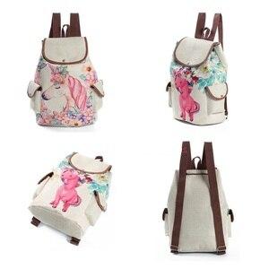 Image 2 - Miyahouse Unicorn מודפס נסיעות תיק נשים בד תרמיל באיכות גבוהה שרוך פשתן חומר המוצ ילה תרמיל