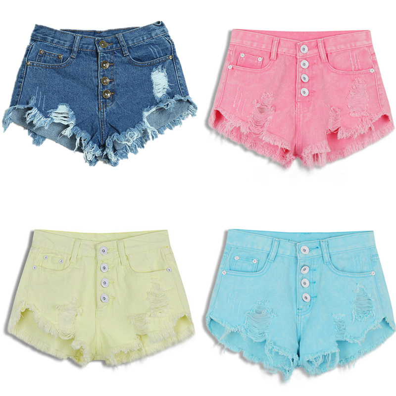 2018 New Summer Female Candy Color Hole Pinggang Tinggi Kapas Kasual Pepejal Seluar pendek Sexy Jean Seluar pendek Vintage Women Denim Shorts