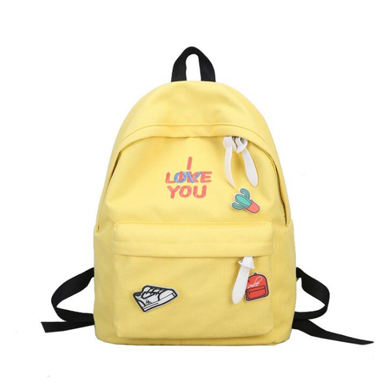 Preppy Style Canvas Backpacks Student Fashion Candy Color Cute Cartoon Female Travel Backpack School Girls Casual Shoulder Bag