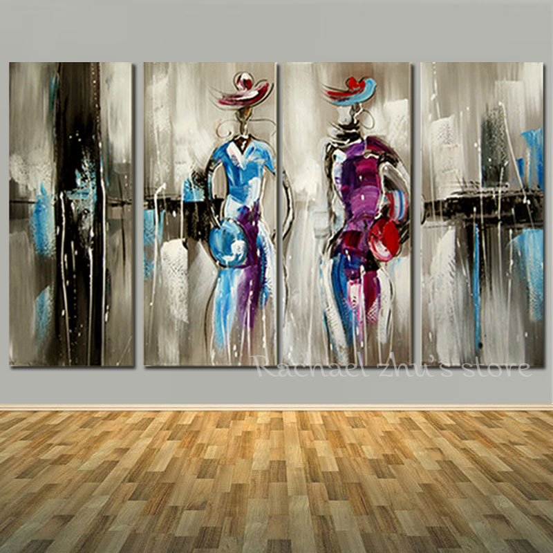 Hand Painted Modern Woman Oil Paintings On Canvas Figue Art Girl In Dress 4 Pieces Wall Art Picturers For Living Room Home Decor