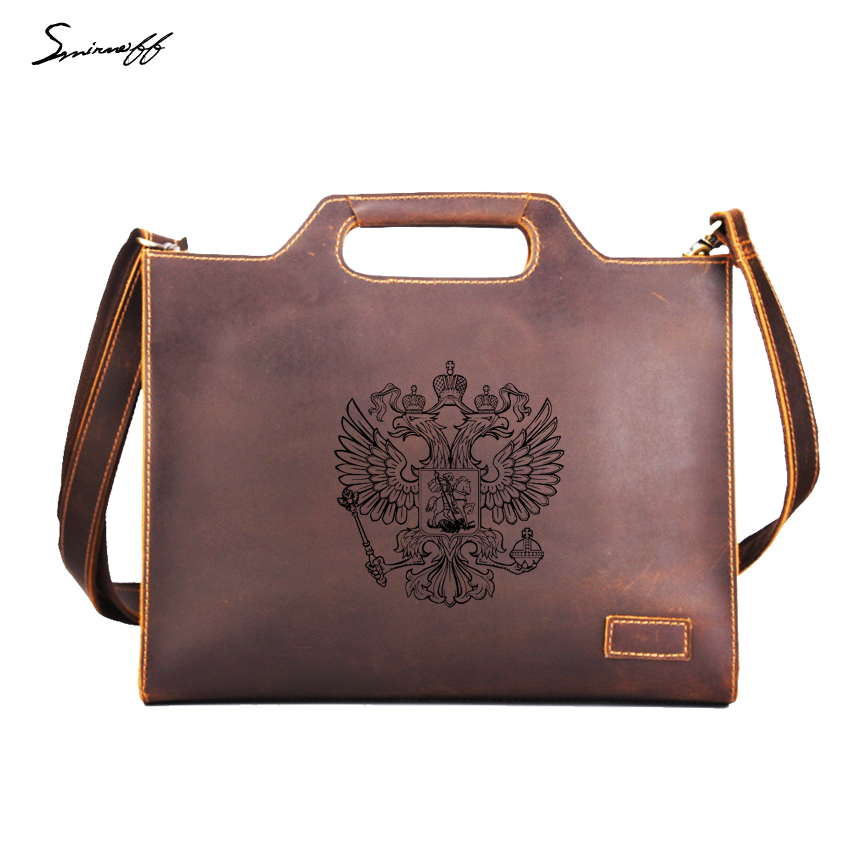 Russian double headed eagle Handbags Men Messenger Bag Custom Name Briefcase ipad Bags High Quality Leather Men Handbags three ratels mt 088 90 80 5mm zinc alloy 3d metal car sticker double headed eagle russian coat of arms russian national emblem