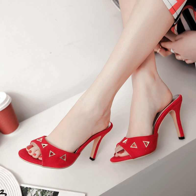 EGONERY sexy frau hausschuhe außerhalb flock 9cm high heels Hohl schuhe mode grün gelb schwarz rot sandalen plus größe 34-43