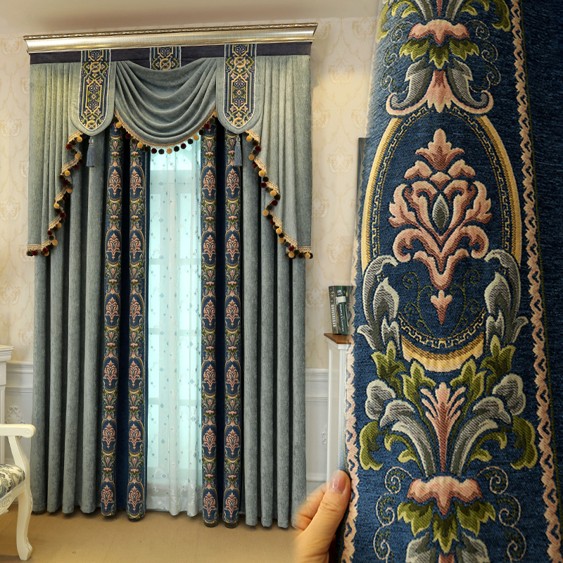 Custom curtains high class simple modern luxurious bedroom curtain thick heavy Chenille fabric cloth blackout curtain tulle E894 window valance