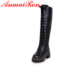 ANMAIRON 2016 Winter New Motorcycle Boots Round Lace-Up PU Platform Knee-high Boots Shoes Woman Black White Shoes Big Size 34-43 недорго, оригинальная цена