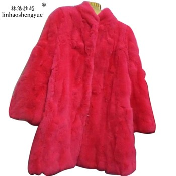 Linhaoshengyue leather coat New arrival fashion slim rex rabbit hair real  fur overcoat medium-long   real  fur coat ,