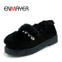 ENMAYER 2018 Warm Fashion Shoes Casual Woman Flcok Slip On Shoes Plush Round Toe Ladies Shoes