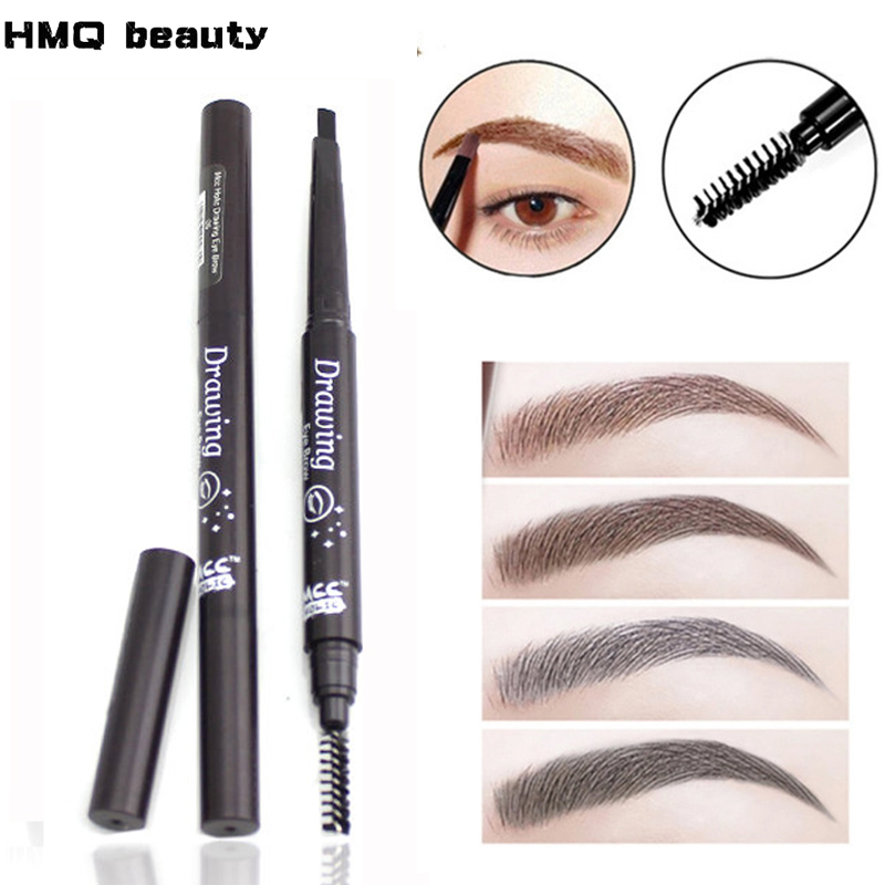 Double-end Pensil Alis Automatik kalis air yang tahan lama Pigmen Brown Eyebrow Eyeliner Makeup Eye Eye Pen Pena Kosmetik