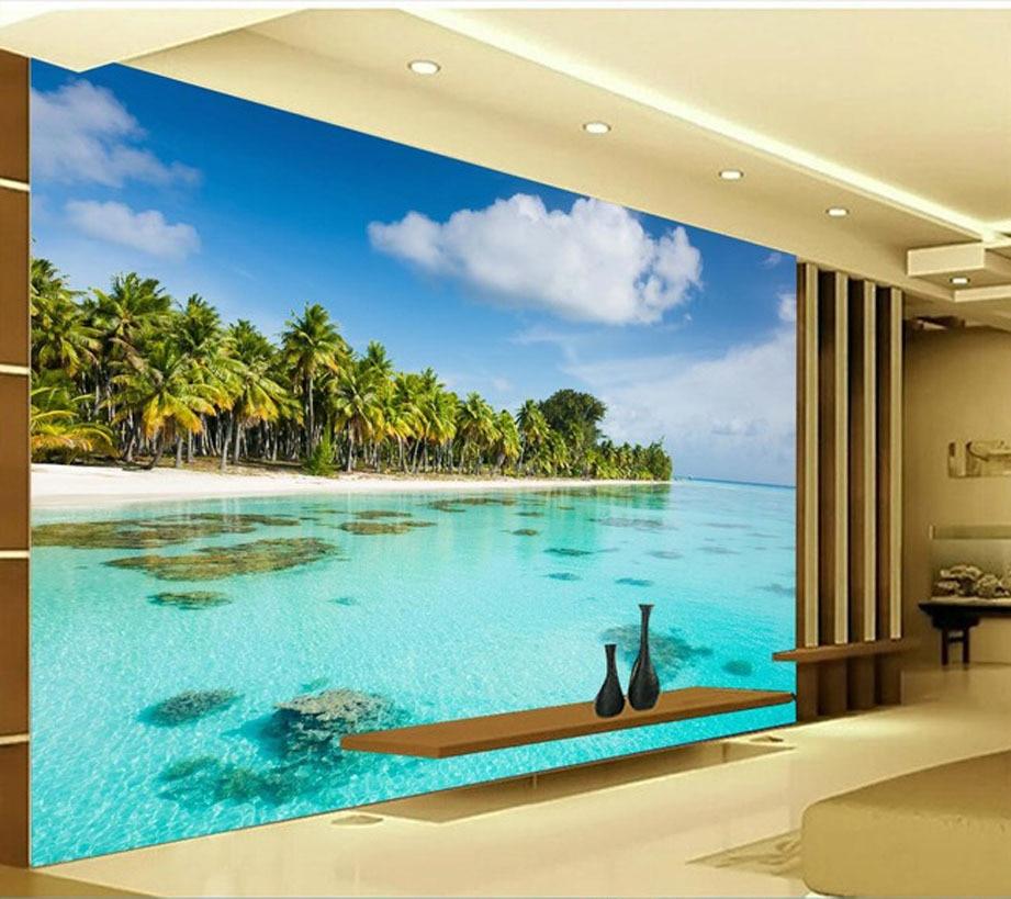 Stylish restaurant living room 3d wallpaper hd seaside for 3d room wallpaper hd