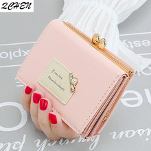 Women wallets Leather Small Brand Mini Women pearl Wallets Purses Female Short Coin Zipper Purse floral Credit Card Holder 422