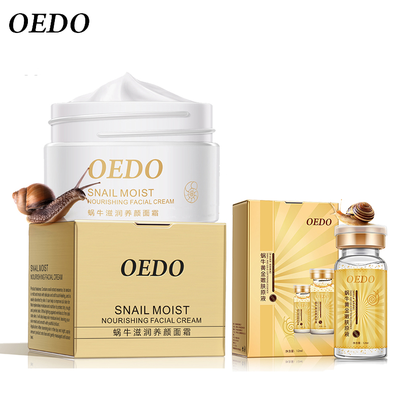 Hydration Skin Care: Snail Facial Cream+Snail And Gold Essence Hydrating