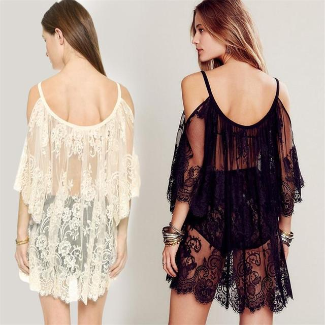 2e3cc29883d4a 2018 Embroidered Sheer Swimsuit Cover Up See-through Lace Cover Up Women De  Plage Beach