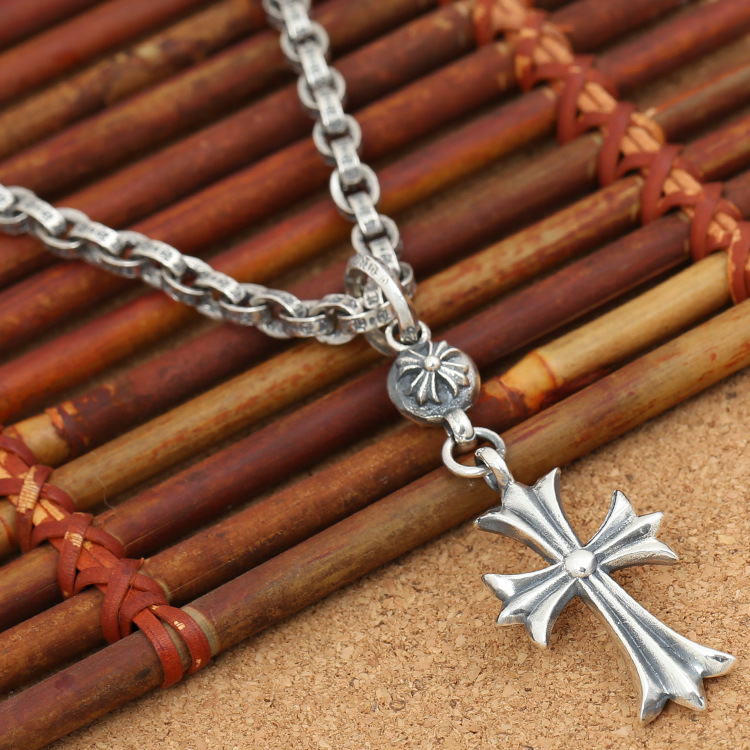 Asg Choker Necklace Of S925 Sterling Jewelry Retro Taiyin Korean Version Of Mens And Womens Cross Small Hanging Ball Pendant Asg Choker Necklace Of S925 Sterling Jewelry Retro Taiyin Korean Version Of Mens And Womens Cross Small Hanging Ball Pendant