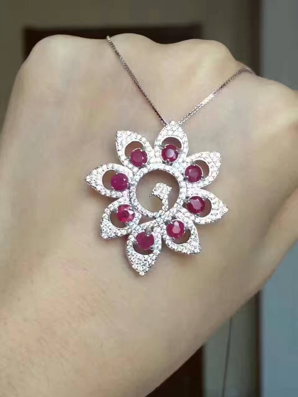 natural red ruby pendant S925 silver Natural gemstone Pendant Necklace Luxury elegant Peacock open women gift party fine jewelrynatural red ruby pendant S925 silver Natural gemstone Pendant Necklace Luxury elegant Peacock open women gift party fine jewelry