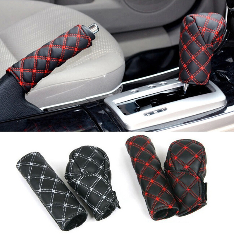 2PCS Hot Sale Universal Microfiber Leather Auto Car Hand Brake Cover + Gear Shift Stick Cover High Quality