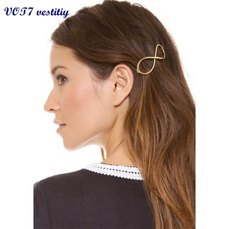 VOT7 vestitiy 2017 Fashion Women Positive Infinity Gold Barrette Hairpin Hair Clip beautiful ladies Headband Oct 10 1 pair fashion hair accessories skeleton claws skull hand hair clip hairpin zombie punk horror bobby pins barrette for women