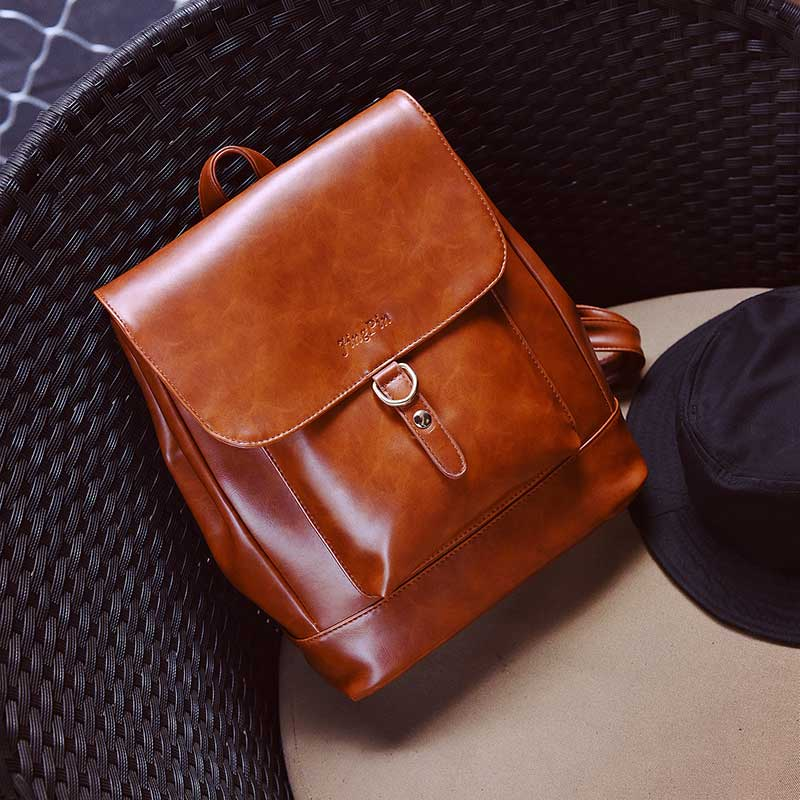 Women Backpack Hasp Belt Casual Hard Solid Korean Stylish PU Leather Summer Feminine Shoulder Bag Large