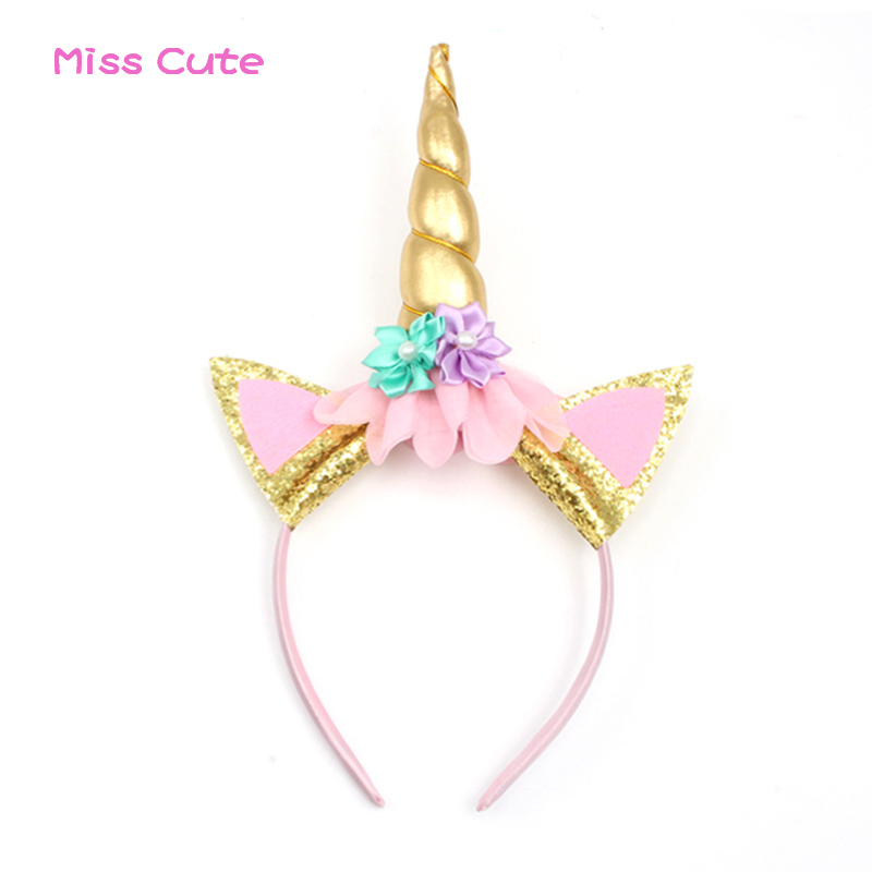 10pcs/lot Handmade Unicorn Headband With Flowers Kids Party Gold Unicorn Horn Gold Glittery Ears Beautiful Headwear Hairband