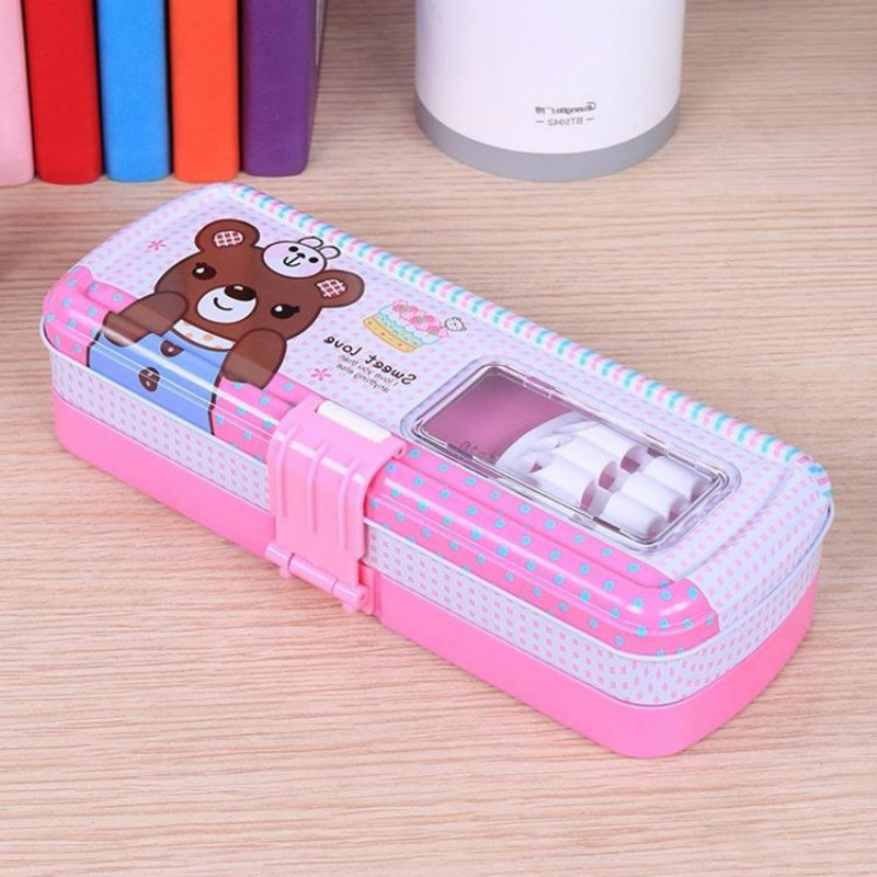 Girls and Boys Three Layer Pencil Case Front Buckle Multi-function Cute Iron Student Stationery Box Pencil Case for School Пенал