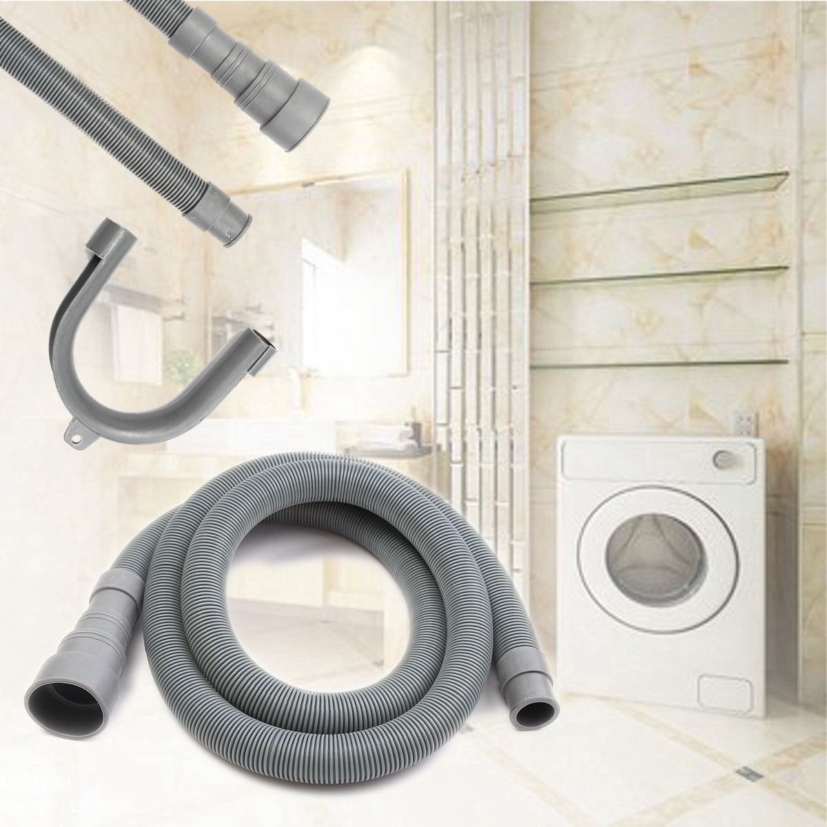 1Pcs 2.5M/3M PVC Washing Machine Dishwasher Drain Waste Hose Extension Pipe With Bracket Set Wash Machine Ablaufschlauch b1jx self washing machine pvc inlet pipe white silvery grey 2 8m