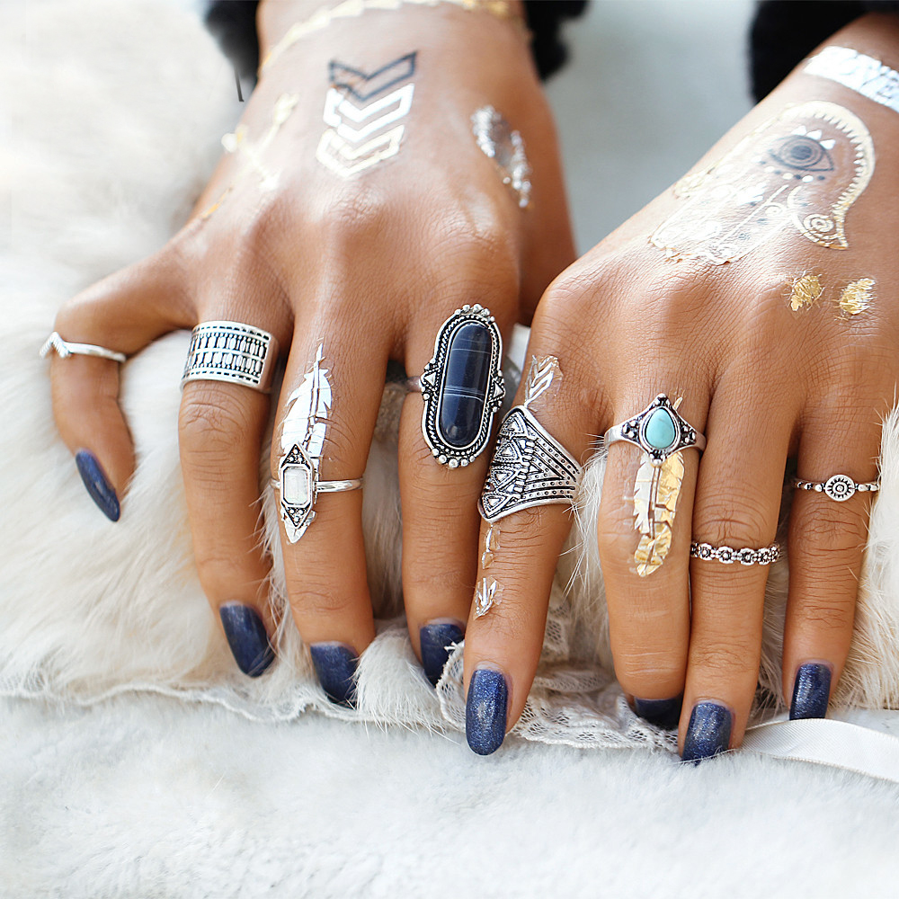 IF ME Fashion 8 PCS / Set Vintage Ring Set Creado Stone Bullet Width Flower Texture Finger Knuckle Rings Mujeres Joyería bohemia