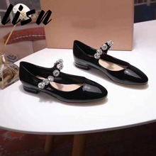 LISN New Genuine Leather Buckle Strap Summer Sandals Round Toe Crystal Beading Thick Heel Pumps Shoes Women