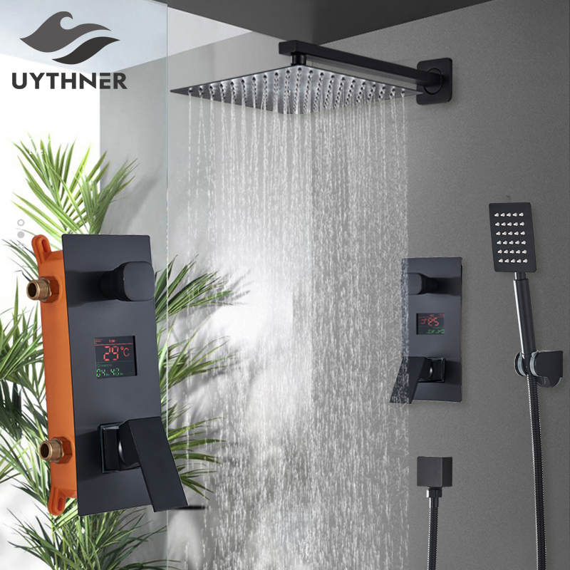 Bathroom Shower 2 Functions Black Digital Shower Faucets Set Rainfall Shower Head 2 way Digital Display