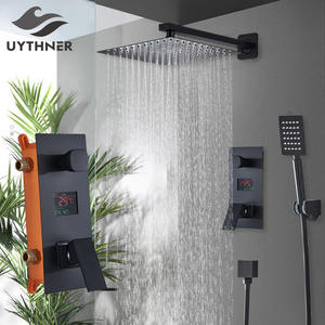 Bathroom Shower 2-Functions Black Digital Shower Faucets Set Rainfall Shower Head 2-way Digital Display Mixer Tap Shower Mixer