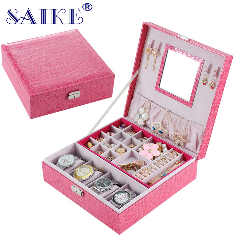 SAIKE Jewelry Watch Box Pink Stripe Leather Wristwatch Display Case Box Rings Collection Storage Organizer Holder for Ear Rings 28 in 1 game memory card case holder storage box for nintendo 3ds xl