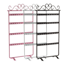 48 Hole Earrings Ear Studs Display Rack Metal Jewelry Holder Stand Organizer Showcase pink 295*160mm for Retail Environment