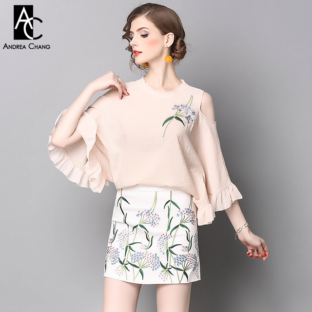 78352a62a4b US $65.84 |spring summer runway designer woman clothing set pink blouse  white skirt two piece dress beading flower embroidery vintage suit on ...