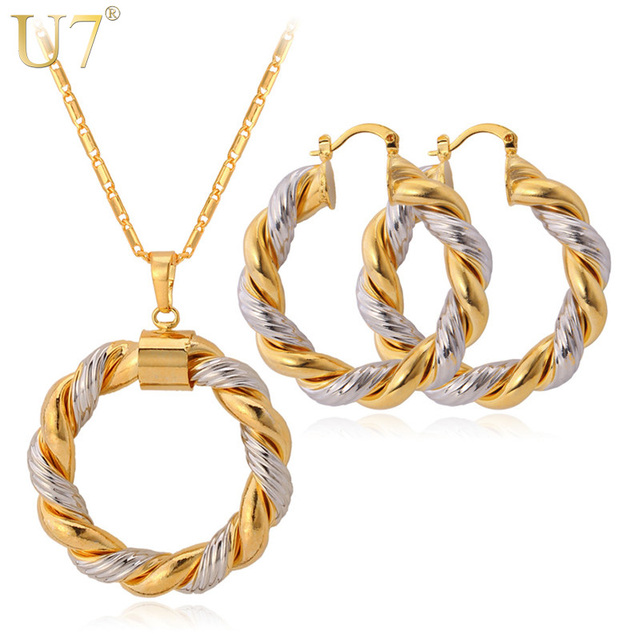 U7 Unique Two Tone Necklace Set For Women Trendy Round Pendant Necklace Hoop Earrings Fashion Gold Color Party Jewelry Sets S544