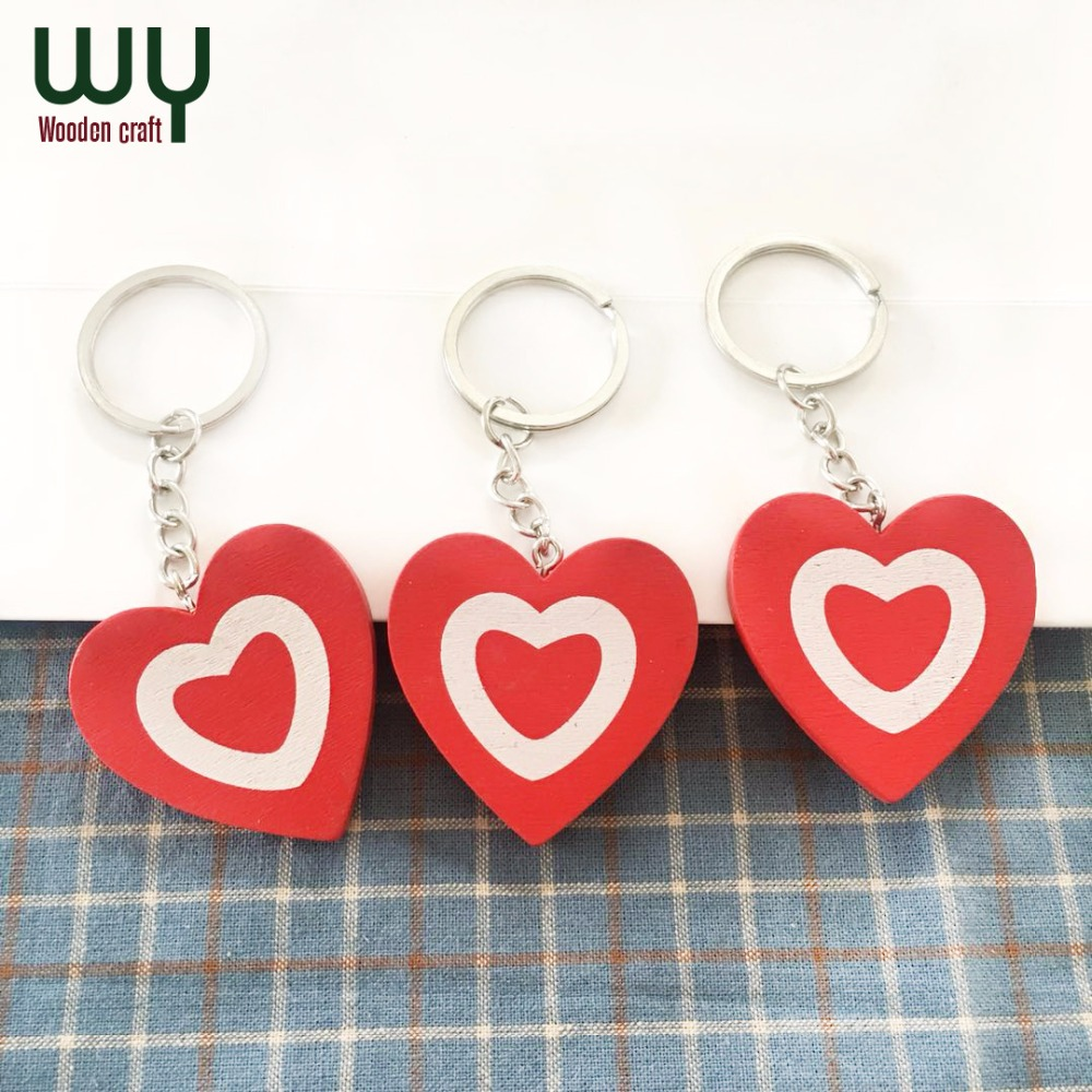 European And American Style Wooden Keychain Wooden Love Keychain Accessories Jewelry wholesale Key Ring image