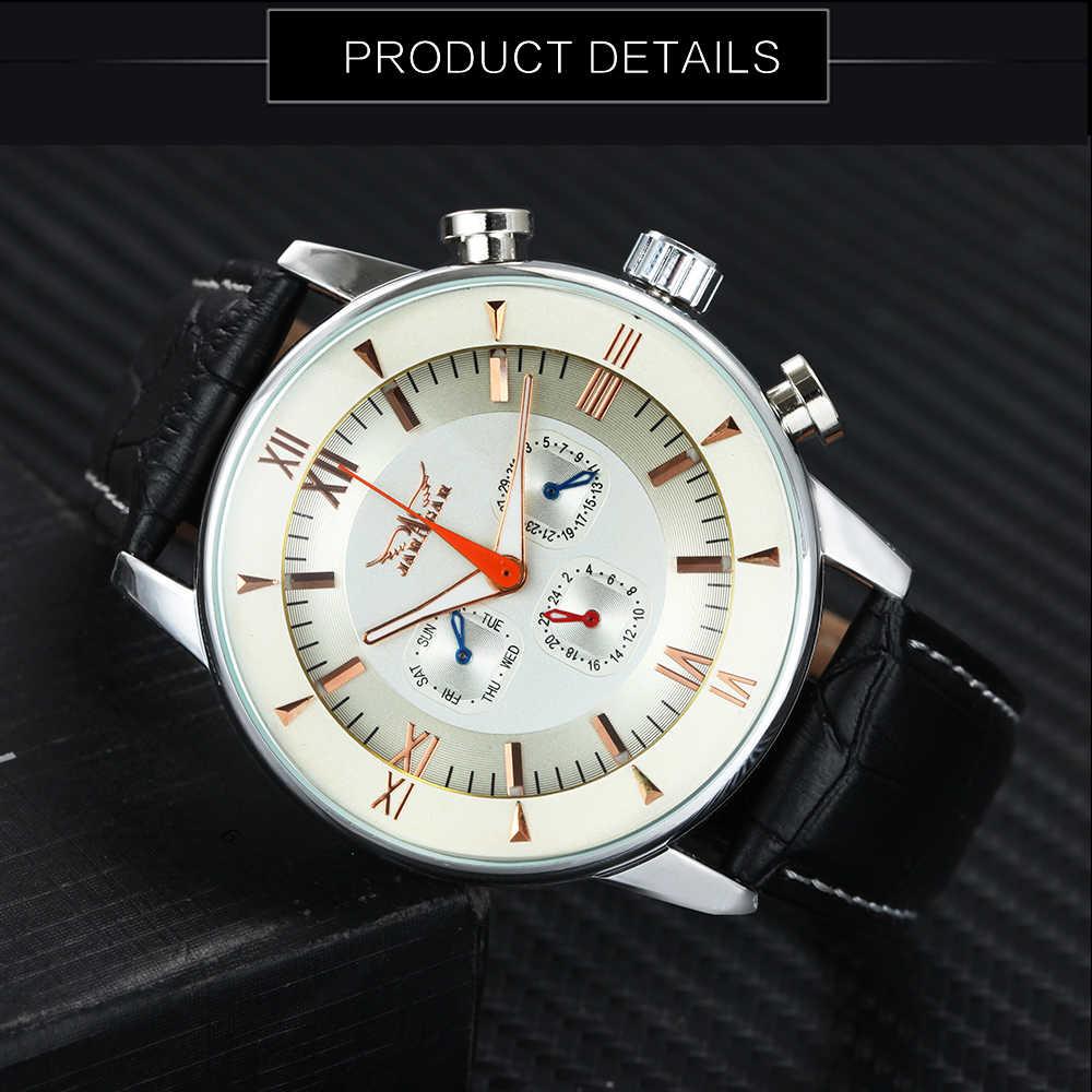 JARAGAR トップブランドの高級自動機械式腕時計男性用レザーストラップ多機能ダイヤルカレンダーローマ数字レロジオ masculino