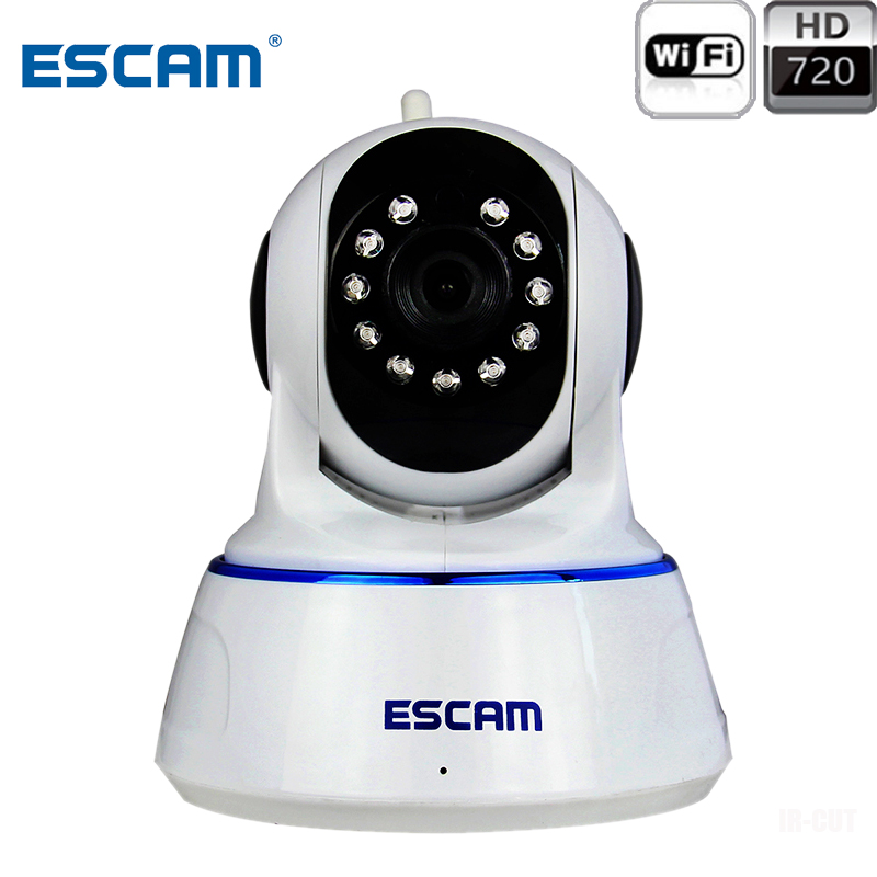 Escam QF002 HD 720P Home Security Wireless IP Camera P2P Pan/Tilt Wifi Video Surveillance Camera Indoor WIFI CCTV Infrared CamEscam QF002 HD 720P Home Security Wireless IP Camera P2P Pan/Tilt Wifi Video Surveillance Camera Indoor WIFI CCTV Infrared Cam